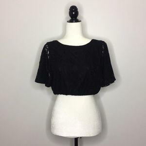 Pins and Needles Lace Crop Top with Open Back